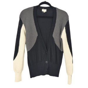SOG Color Block Button Front Cardigan Sweater